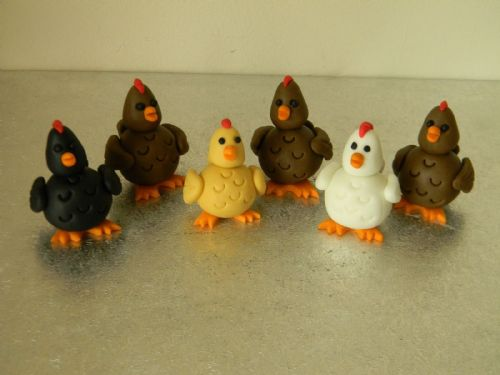 6 Chicken Cake Toppers
